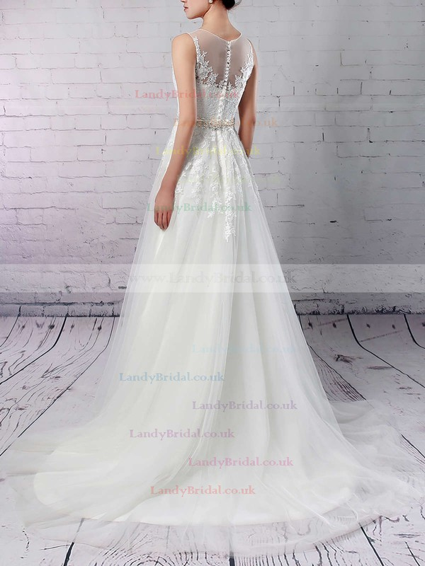 Tulle Scoop Neck A-line Sweep Train Appliques Lace Wedding Dresses #LDB00023318