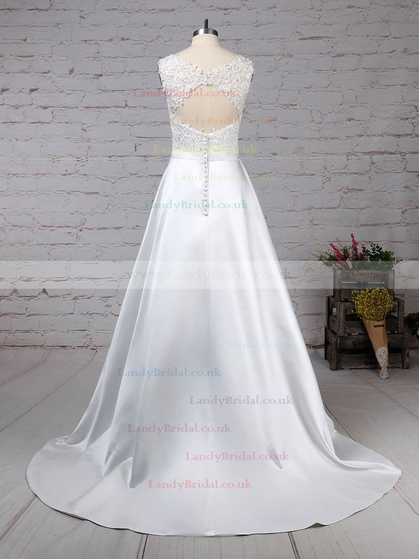 Satin Tulle Scoop Neck Ball Gown Sweep Train Appliques Lace Wedding Dresses #LDB00023319