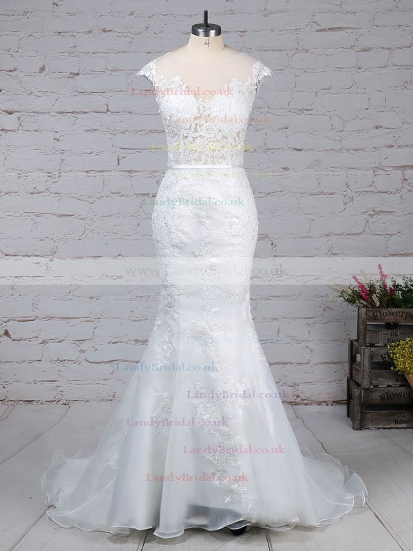 Tulle Scoop Neck Trumpet/Mermaid Sweep Train Appliques Lace Wedding Dresses #LDB00023152