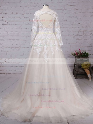 Tulle V-neck Ball Gown Court Train Beading Wedding Dresses #LDB00023154