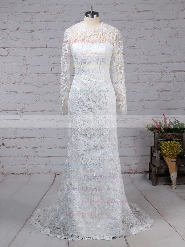Lace Tulle Scoop Neck Sheath/Column Sweep Train Wedding Dresses #LDB00023193