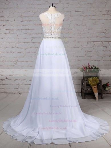 Chiffon Tulle V-neck Princess Sweep Train Beading Wedding Dresses #LDB00023181