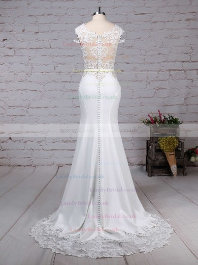 Tulle Satin Chiffon Scoop Neck Trumpet/Mermaid Sweep Train Appliques Lace Wedding Dresses #LDB00023278