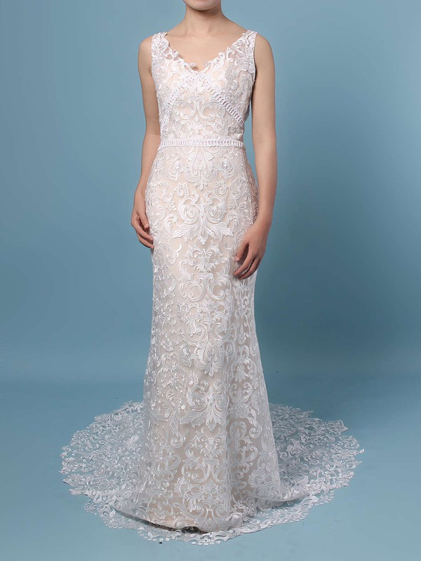 Lace V-neck Trumpet/Mermaid Sweep Train Appliques Lace Wedding Dresses #LDB00023284