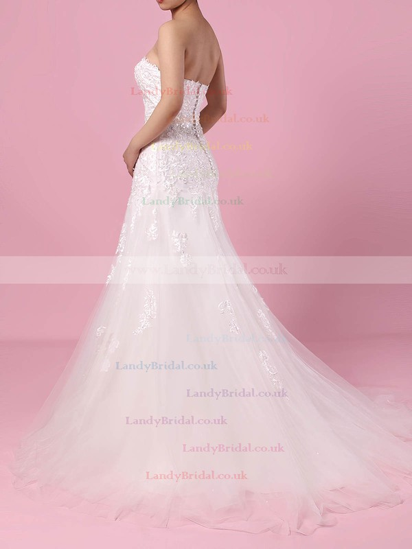 Tulle Sweetheart Trumpet/Mermaid Court Train Appliques Lace Wedding Dresses #LDB00023150