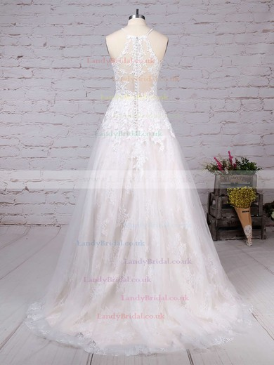 Lace Tulle Scoop Neck Princess Sweep Train Appliques Lace Wedding Dresses #LDB00023159