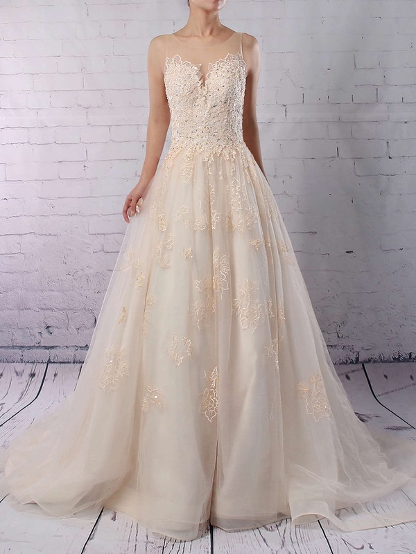 Tulle Scoop Neck Ball Gown Sweep Train Sequins Wedding Dresses #LDB00023173