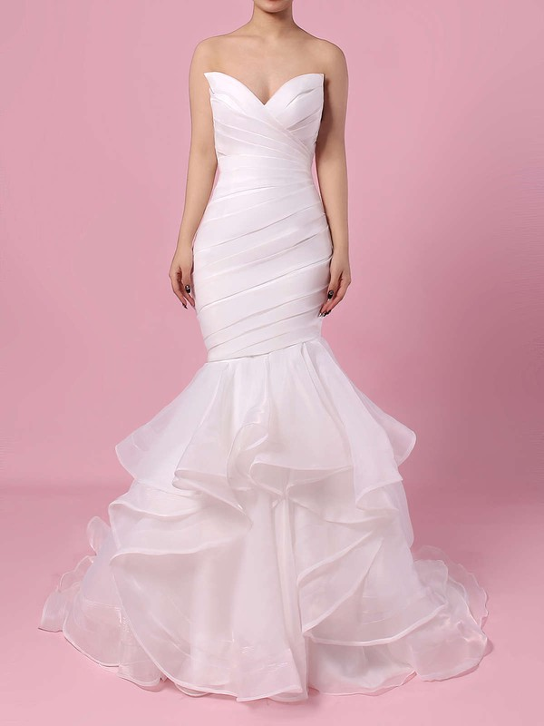 Organza V-neck Trumpet/Mermaid Sweep Train Side-Draped Wedding Dresses #LDB00023190