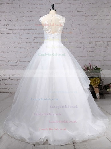 Organza Tulle Scoop Neck Ball Gown Sweep Train Appliques Lace Wedding Dresses #LDB00023192
