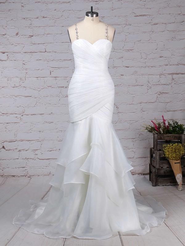 Organza Tulle Sweetheart Trumpet/Mermaid Sweep Train Beading Wedding Dresses #LDB00023217