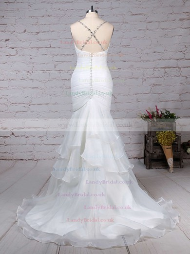 Organza Tulle Sweetheart Trumpet/Mermaid Sweep Train Beading Wedding Dresses #LDB00023217