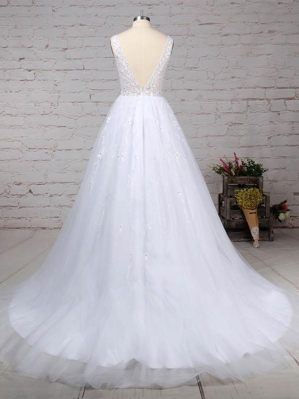 Tulle V-neck Ball Gown Sweep Train Beading Wedding Dresses #LDB00023221