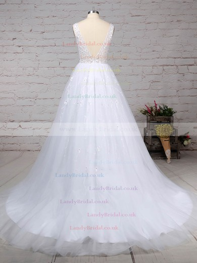 Tulle V-neck Ball Gown Sweep Train Beading Wedding Dresses #LDB00023221