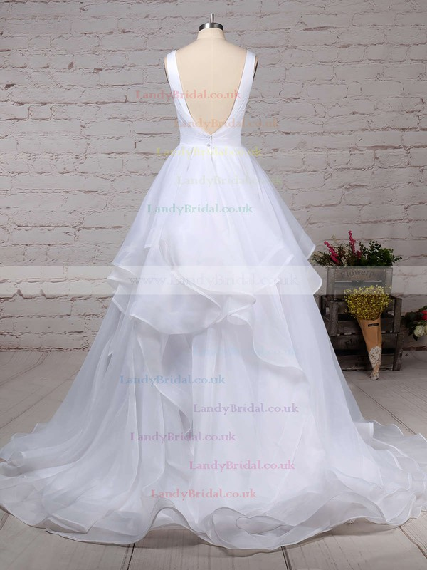 Organza V-neck Ball Gown Sweep Train Ruffles Wedding Dresses #LDB00023222
