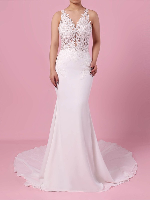 Chiffon Tulle V-neck Trumpet/Mermaid Sweep Train Beading Wedding Dresses #LDB00023232