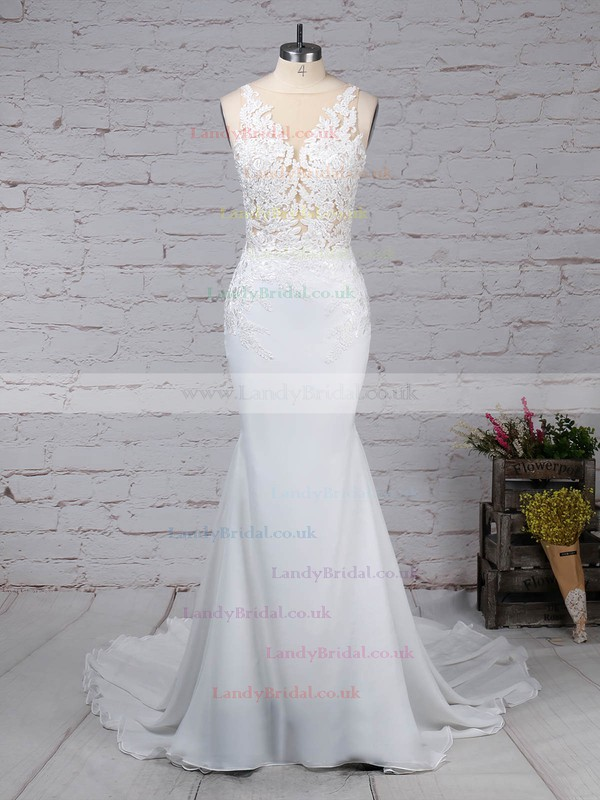 Chiffon Tulle V-neck Trumpet/Mermaid Sweep Train Beading Wedding Dresses #LDB00023232