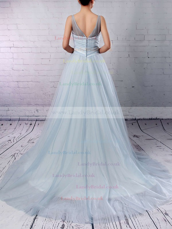 Tulle V-neck Ball Gown Court Train Beading Wedding Dresses #LDB00023241