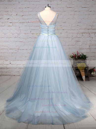 Tulle V-neck Ball Gown Court Train Beading Wedding Dresses #LDB00023241
