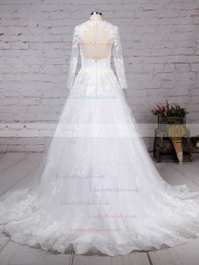Tulle Scoop Neck Ball Gown Sweep Train Appliques Lace Wedding Dresses #LDB00023286
