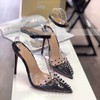 Women's Pumps Stiletto Heel Silver PVC Wedding Shoes #LDB03030862