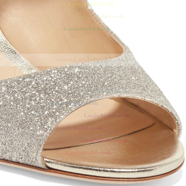 Women's Pumps Stiletto Heel Silver Sparkling Glitter Wedding Shoes
