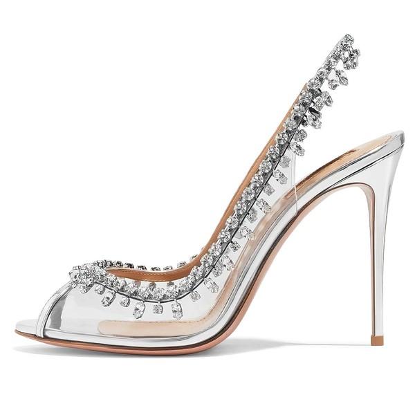 Women's Pumps Stiletto Heel Silver PVC Wedding Shoes