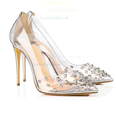 Women's Pumps Stiletto Heel Gold Leatherette Wedding Shoes #LDB03030867