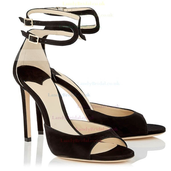 Women's Pumps Stiletto Heel Black Velvet Wedding Shoes