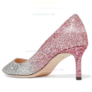 Women's Pumps Kitten Heel Sparkling Glitter Wedding Shoes #LDB03030870