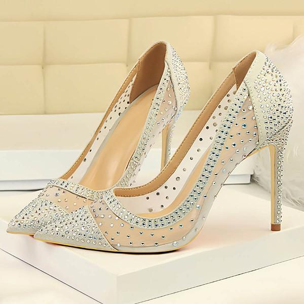 Women's Pumps Stiletto Heel Silver Leatherette Wedding Shoes