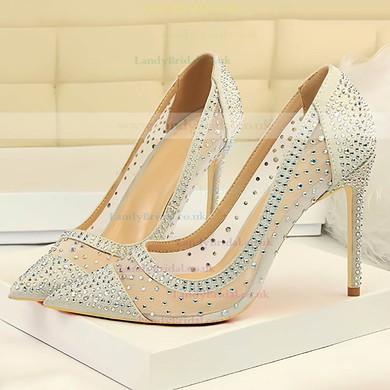 Women's Pumps Stiletto Heel Silver Leatherette Wedding Shoes #LDB03030871