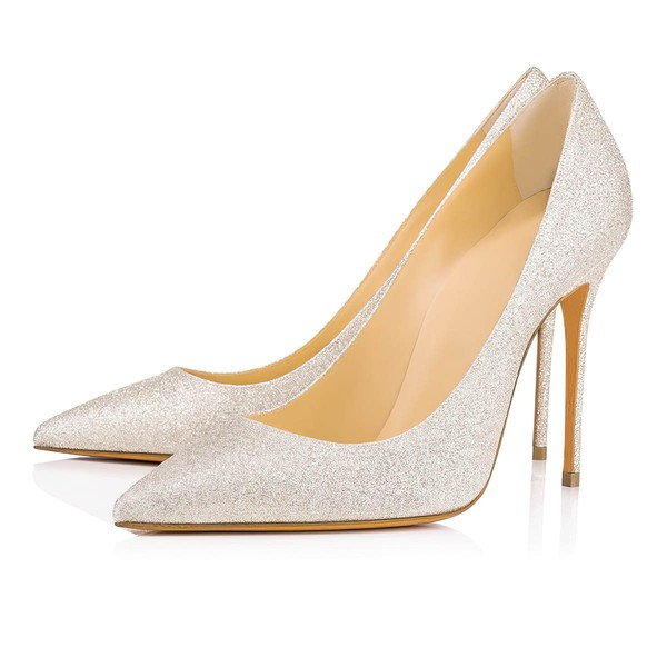 Women's Pumps Stiletto Heel Silver Sparkling Glitter Wedding Shoes #LDB03030872