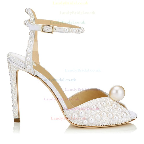 Women's Pumps Stiletto Heel Ivory Patent Leather Wedding Shoes