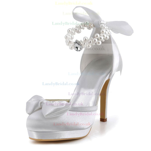 Women's Pumps Stiletto Heel White Satin Wedding Shoes