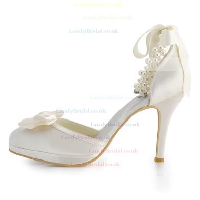 Women's Pumps Stiletto Heel White Satin Wedding Shoes #LDB03030918