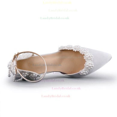 Women's Pumps Stiletto Heel White Satin Wedding Shoes #LDB03030921