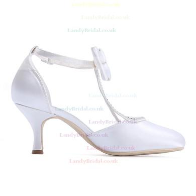 Women's Pumps Cone Heel White Satin Wedding Shoes #LDB03030922
