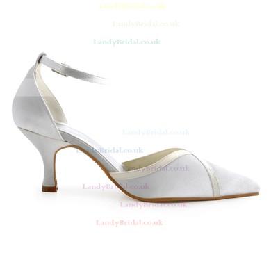 Women's Pumps Cone Heel White Satin Wedding Shoes #LDB03030923