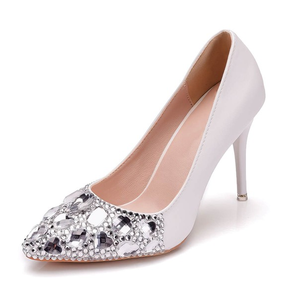 Women's Pumps Stiletto Heel Ivory Leatherette Wedding Shoes #LDB03030928