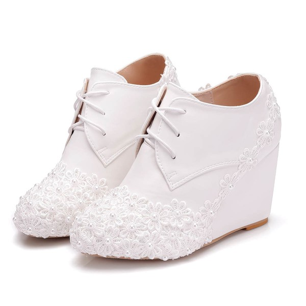 Women's Pumps Wedge Heel White Leatherette Wedding Shoes