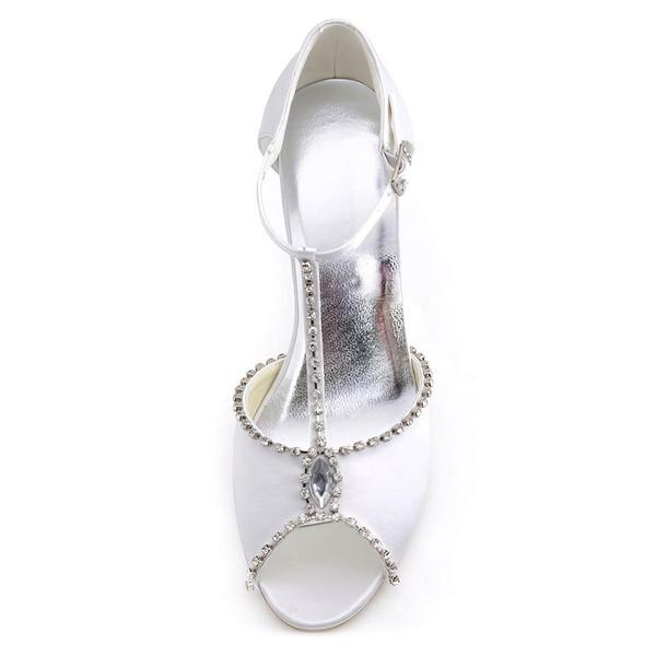 Women's Peep Toe Wedge Heel White Satin Wedding Shoes