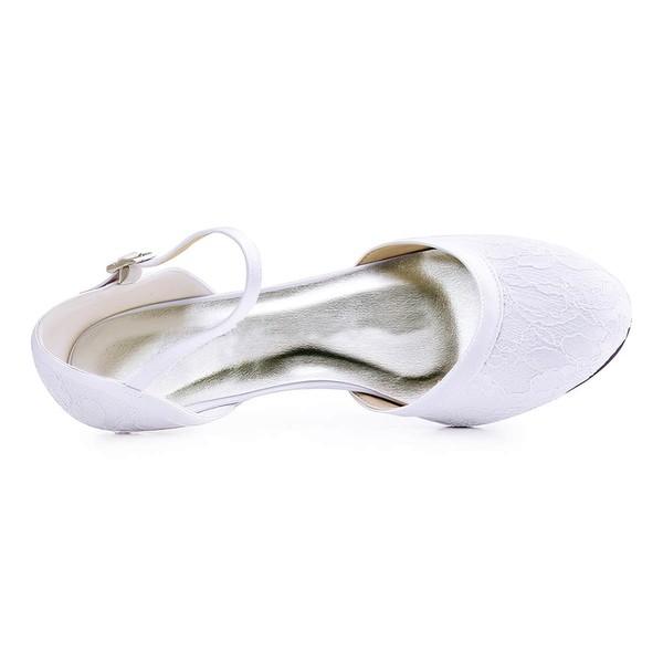 Women's Pumps Chunky Heel White Satin Wedding Shoes