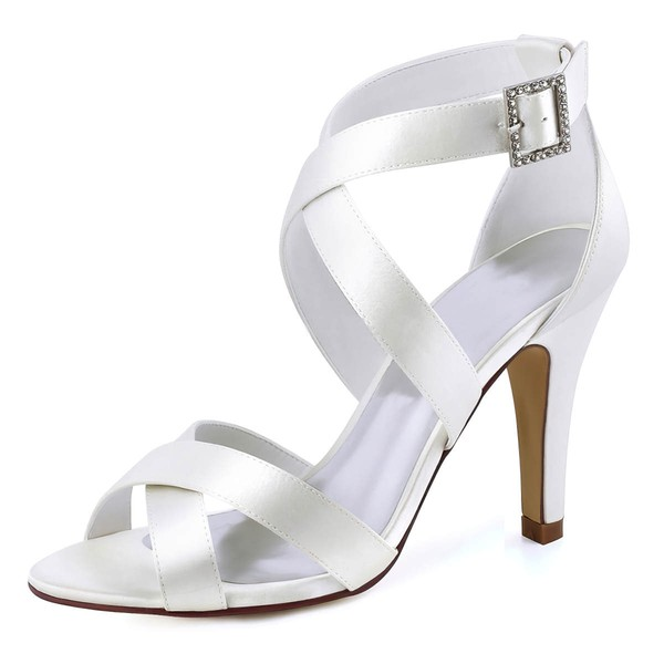 Women's Pumps Cone Heel White Satin Wedding Shoes #LDB03030890