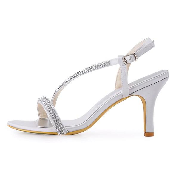 Women's Sandals Cone Heel Satin Wedding Shoes #LDB03030892