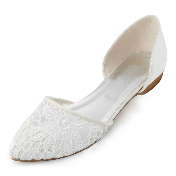 Women's Closed Toe Flat Heel White Satin Wedding Shoes