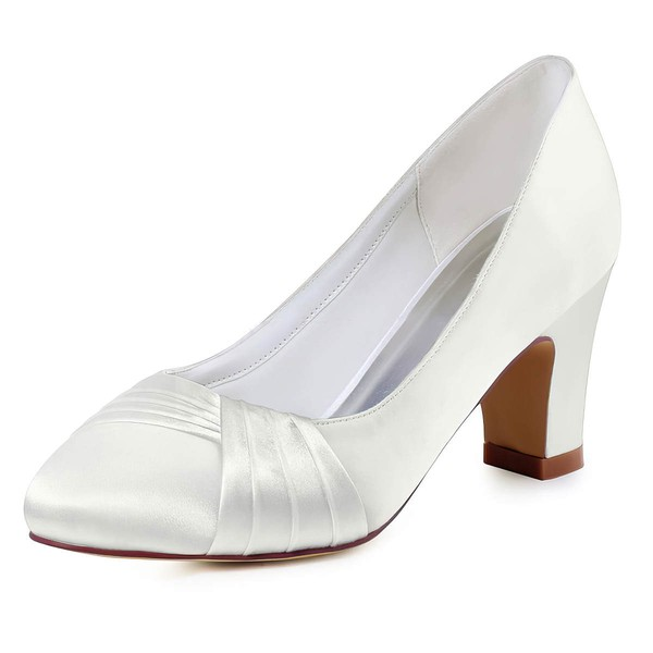 Women's Pumps Chunky Heel White Satin Wedding Shoes