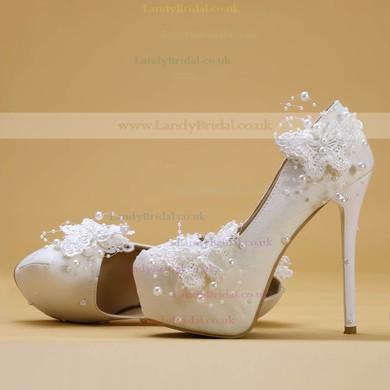 Women's Pumps Stiletto Heel White Leatherette Wedding Shoes #LDB03030902