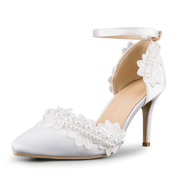 Women's Pumps Cone Heel White Leatherette Wedding Shoes #LDB03030905