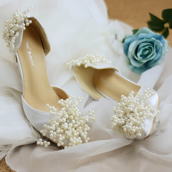Women's Pumps Cone Heel White Leatherette Wedding Shoes #LDB03030906