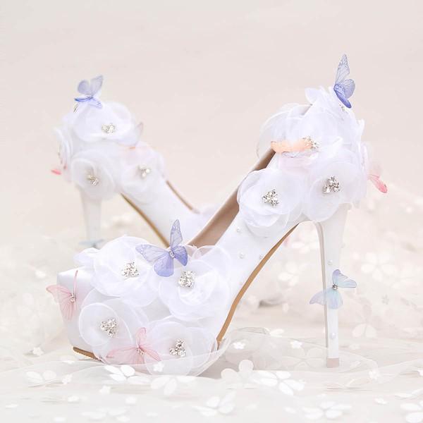 Women's Pumps Stiletto Heel White Leatherette Wedding Shoes